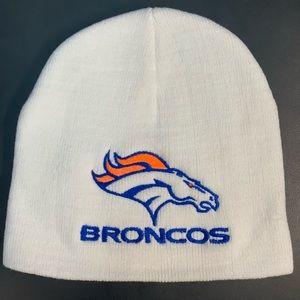Denver Broncos White Knit Beanie / Skull Cap